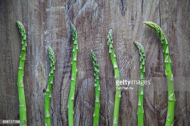 Elevated View of a Row of Asparagus on Table