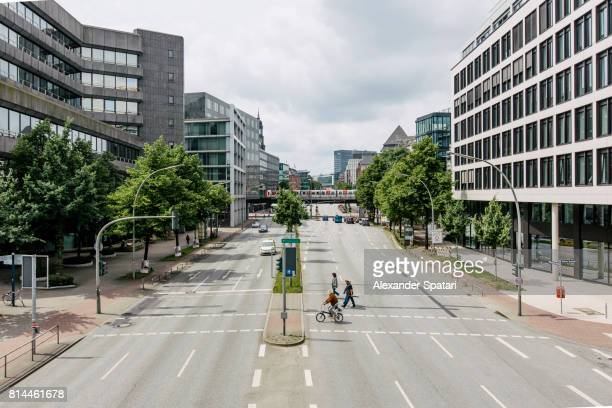 Elevated view of a street scene in Hamburg, Germany