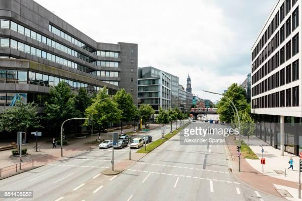 Elevated view of a street scene in Hamburg, Germany