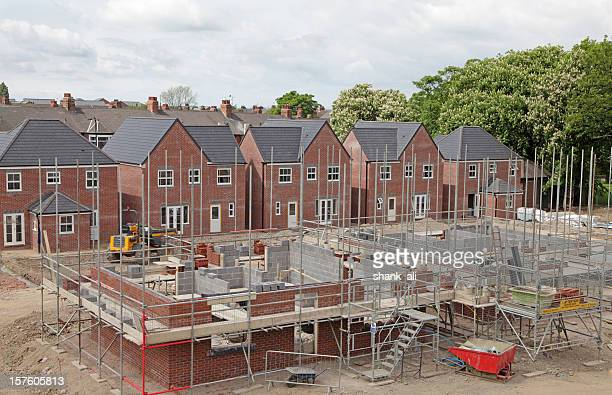 elevated view of a uk building site - design stock pictures, royalty-free photos & images