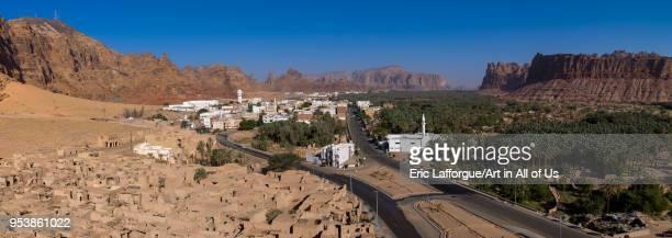 Elevated view of alula old town and oasis Al Madinah Province AlUla Saudi Arabia on January 24 2010 in Alula Saudi Arabia