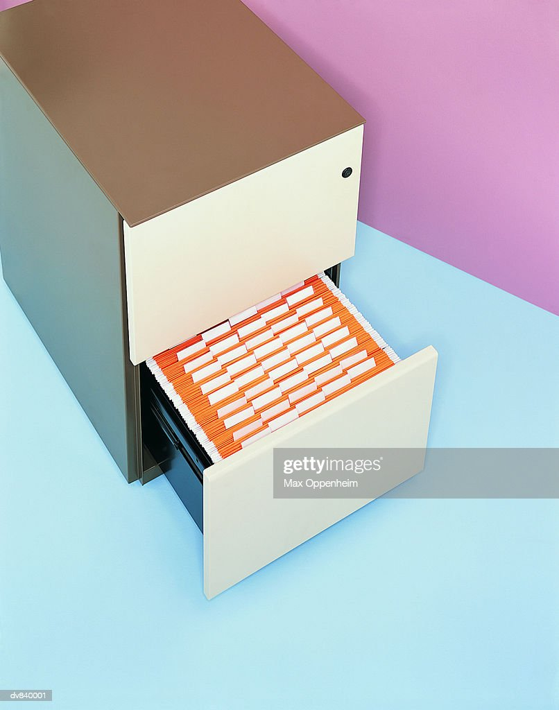 Elevated View of an Open Filing Cabinet : Stock Photo