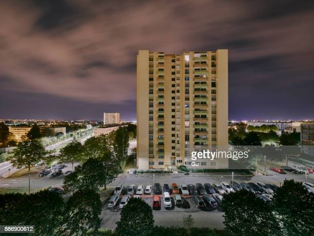 elevated view of apartment block at night, dijon, burgundy, france - dijon photos et images de collection