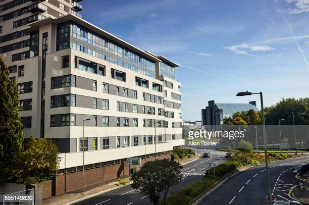 elevated view of apartments in basingstoke - basingstoke stock pictures, royalty-free photos & images