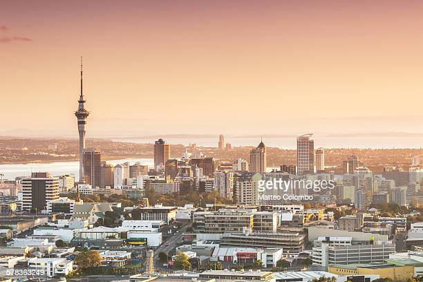 Elevated view of Auckland city and CBD at sunrise