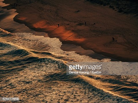 Elevated View Of Beach At Sunset