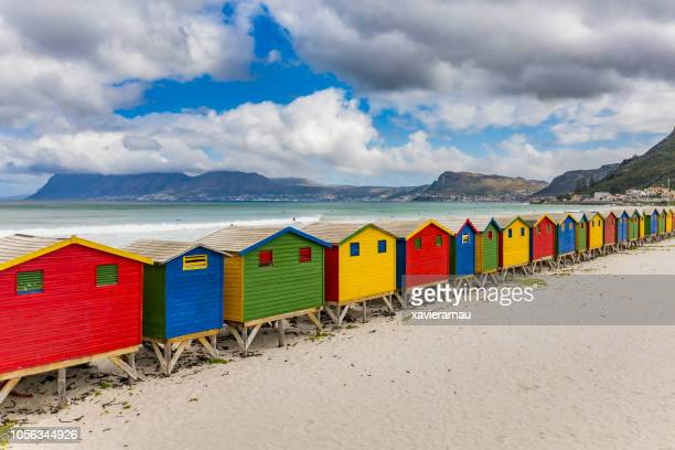 Elevated view of beach huts in Muizenberg Beach, Cape Town, South Africa