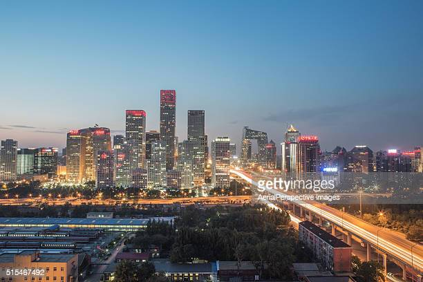 Elevated View of Beijing CBD at Dusk