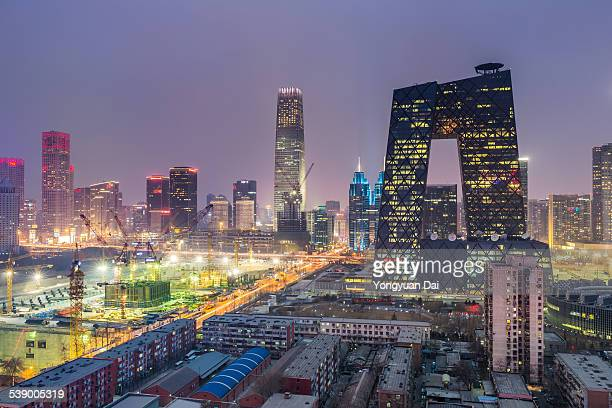 elevated view of beijing skyline at dusk - beijing province stock photos and pictures