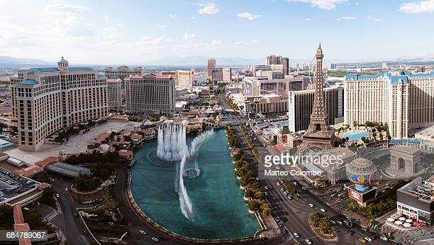 Elevated view of Bellagio fountain, Las Vegas, USA