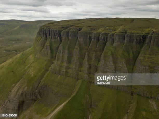 Elevated view of Benbulben mountain range, Co. Sligo, Ireland.