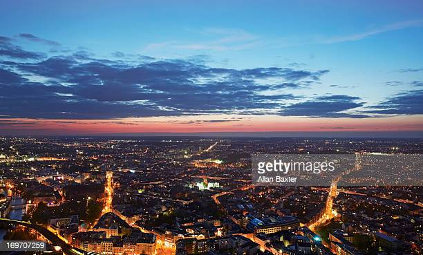 elevated view of berlin at twilight - berlin stock-fotos und bilder