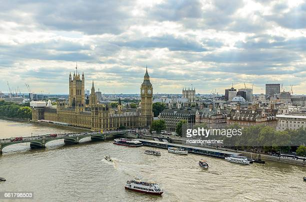 Elevated view of Big Ben, Houses of Parliament and river thames