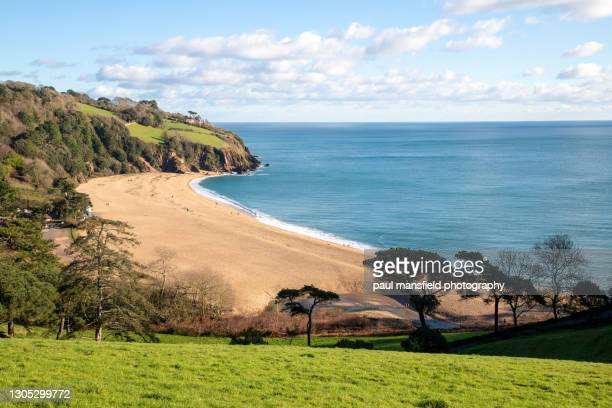 elevated view of blackpool sands beach, south devon - beach stock pictures, royalty-free photos & images