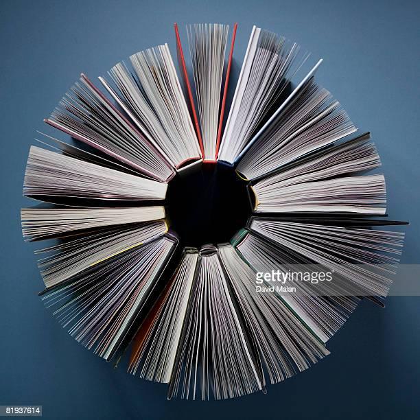elevated view of books in a circle - literatur stock-fotos und bilder