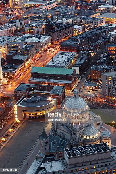 Elevated view of Boston at dusk