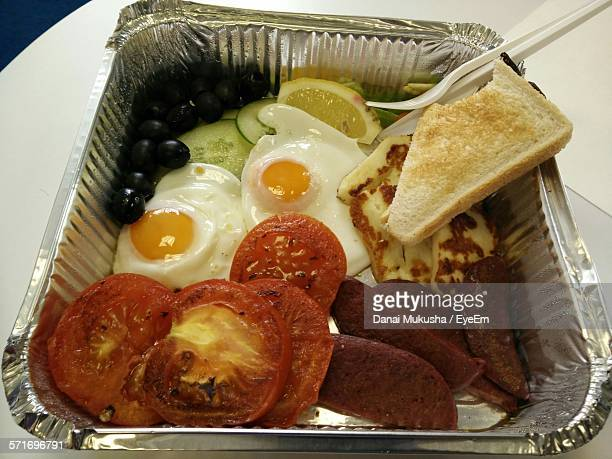 Elevated View Of Breakfast In Container