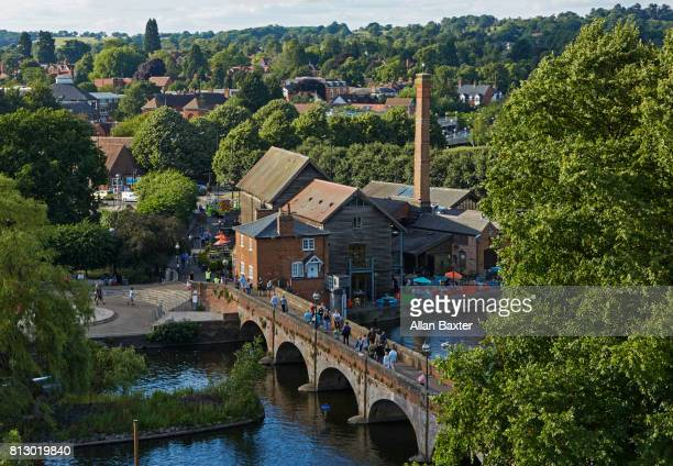 Elevated view of bridge and chimney in Stratford upon Avon
