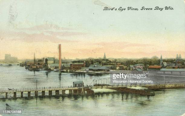 Elevated view of bridges and the Fox River, Green Bay, Wisconsin, 1905.