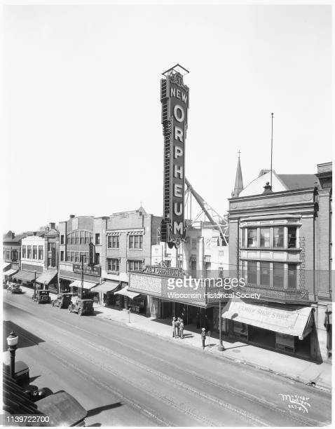 Elevated view of buildings in the 200 block of State Street, with the Orpheum Theatre as a focal point, Madison, Wisconsin, April 10, 1927. The...