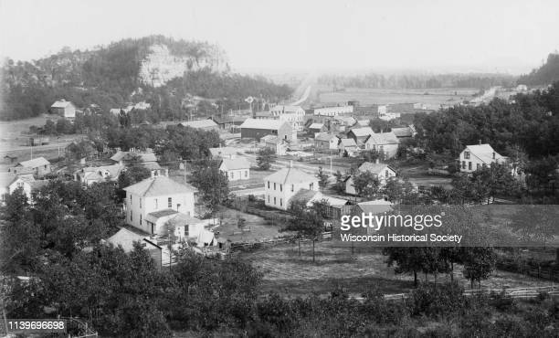 Elevated view of Camp Williams Town with many houses Camp Douglas Wisconsin 1910 In the background are bluffs