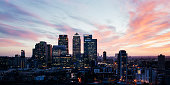 Elevated view of Canary Wharf in London