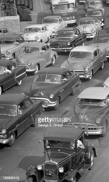 Elevated view of cars lined up to enter the Lincoln Tunnel New York New York 1953