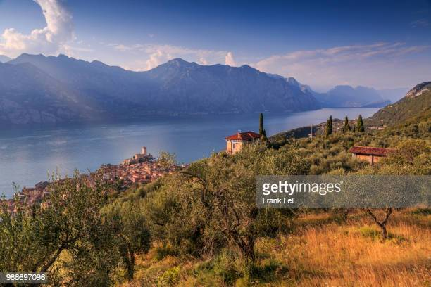 elevated view of castello scaligero (scaliger castle), malcesine, lake garda, veneto, italian lakes, italy, europe - malcesine stock pictures, royalty-free photos & images