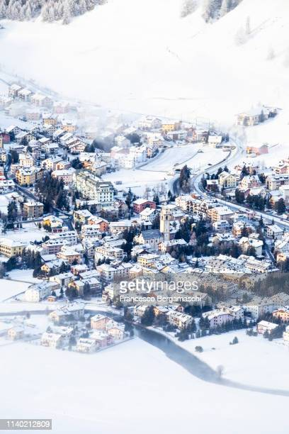 Elevated view of Celerina, Engadine valley. Canton of Grisons, Switzerland, Europe.