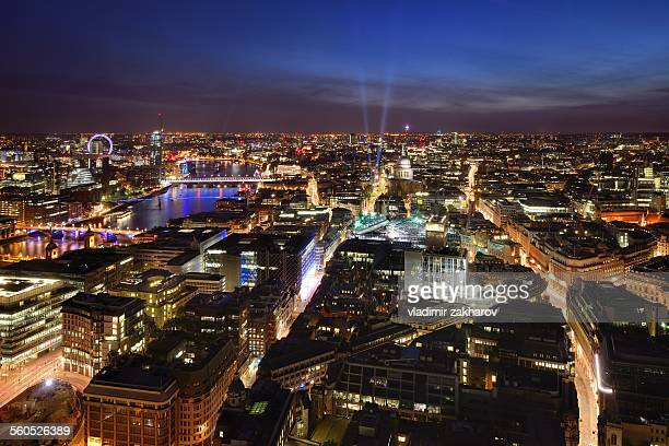 elevated view of central london at twilight - west end london stock pictures, royalty-free photos & images