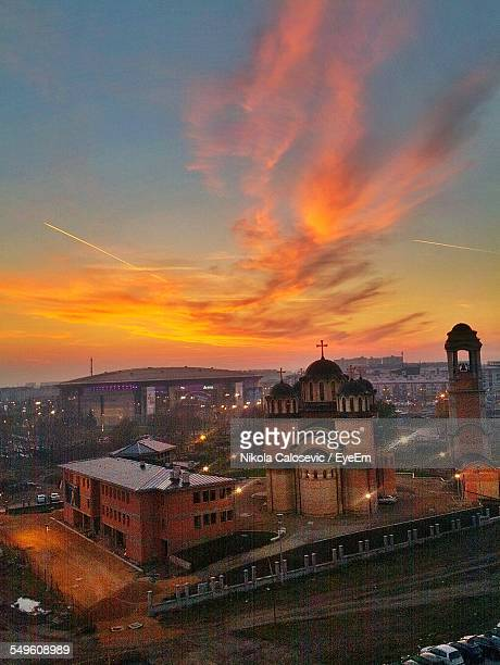 elevated view of city at sunset - belgrade serbia stock pictures, royalty-free photos & images
