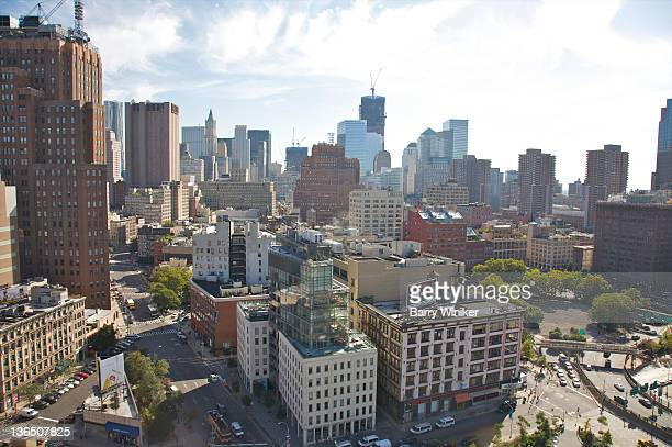 elevated view of city buildings and streets - canal street manhattan stock pictures, royalty-free photos & images