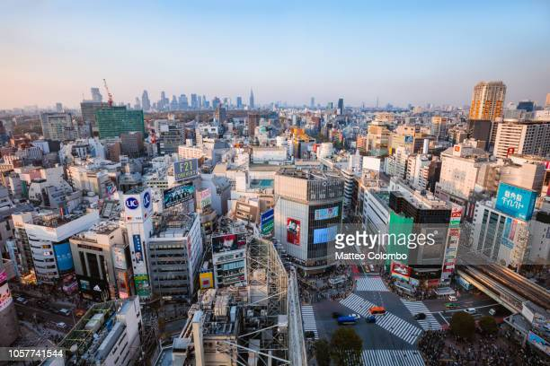 elevated view of city. shibuya, tokyo, japan - shibuya ward stock pictures, royalty-free photos & images