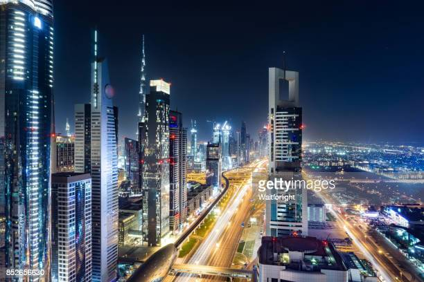 Elevated view of cityscape of Sheikh Zayed Road in Dubai at night