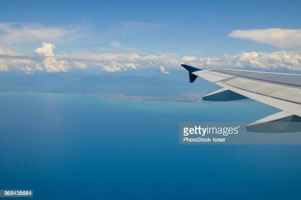 elevated view of clouds - airbus a320 stock pictures, royalty-free photos & images