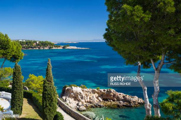 elevated view of coastline and blue sea, calvia, majorca, spain - majorca stock pictures, royalty-free photos & images