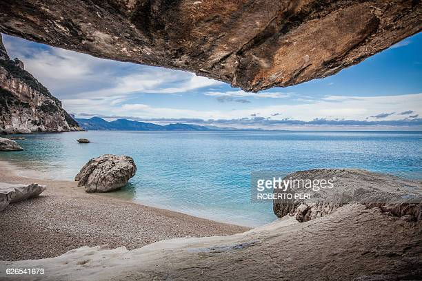 Elevated view of coastline and rocky beach, Ogliastra, Sardinia, Italy