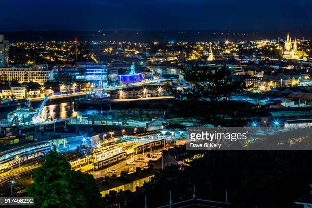 elevated view of cork city at night - cork city stock pictures, royalty-free photos & images