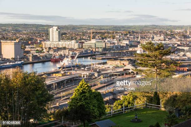 elevated view of cork city - cork city stock pictures, royalty-free photos & images