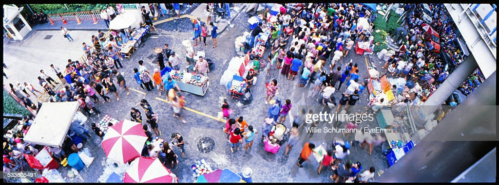 Elevated View Of Crowded Town Square : Foto stock