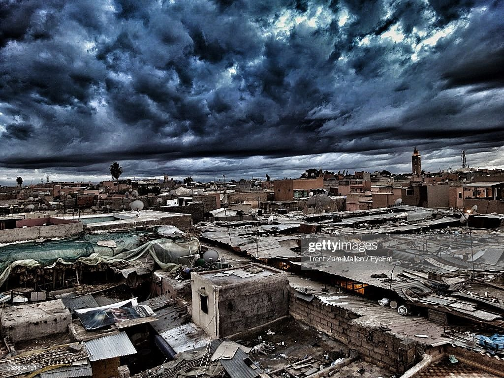 Elevated View Of Damaged Buildings : Foto stock