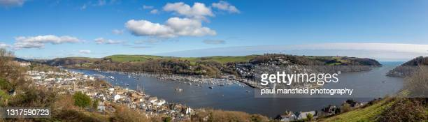 elevated view of dartmouth estuary, devon - passenger craft stock pictures, royalty-free photos & images