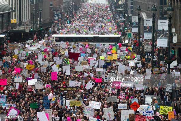 Elevated view of demonstrators many with signs during the Women's March on New York as they walk along 42nd Street New York New York January 21 2017...