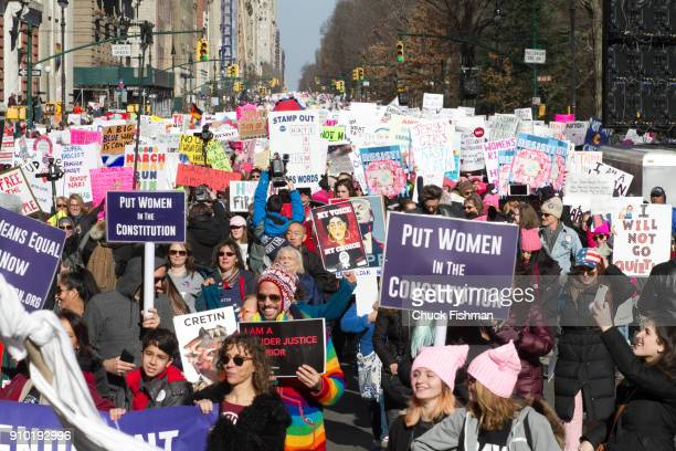 Elevated view of demonstrators many with signs on Central Park West at the start of the Women's March on New York New York New York January 20 2018