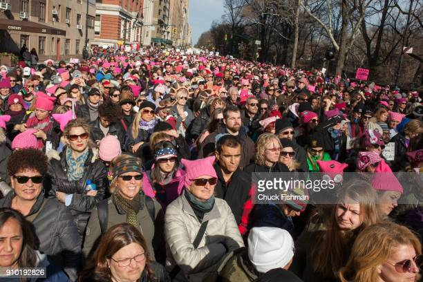 Elevated view of demonstrators on Central Park West prior to the start of the Women's March on New York New York New York January 20 2018