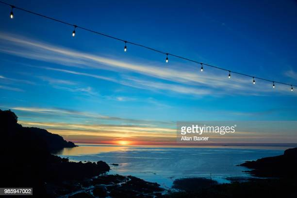 elevated view of devon coastline during sunset - ilfracombe stock photos and pictures