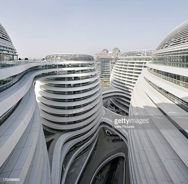 Elevated view of dome alignment Galaxy Soho Beijing China Architect Zaha Hadid Architects 2012