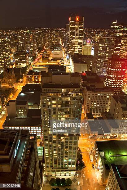 Elevated view of Downtown Vancouver at Night