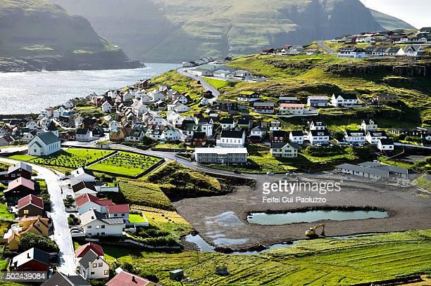 Elevated view of Eidi village of Eysturoy Island in Faeroe Islands
