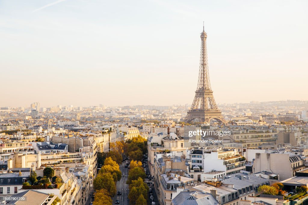 Elevated view of Eiffel Tower and Paris skyline at sunset, France : Stock Photo
